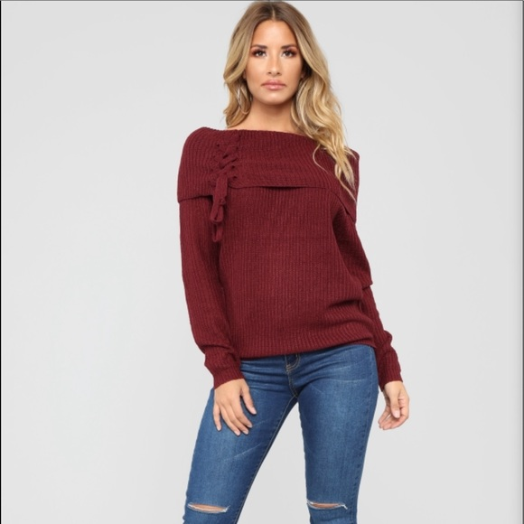 93fc8a40dde TIE ME DOWN Off Shoulder Sweater NWT
